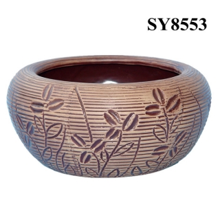 Ceramic pattern embossed round planters pot