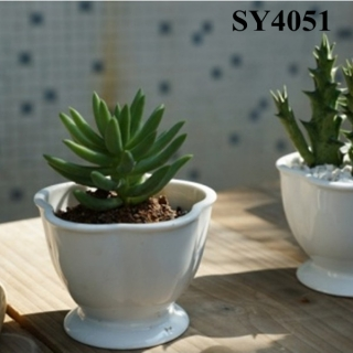 3.8 inches white cactus mini pot
