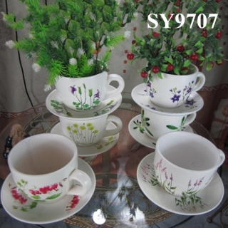 Ceramic 6 pcs gift set cup flower pot