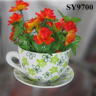 With saucer ceramic bright color cup flower pots