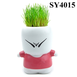Lovely angry boy colorful growing grass head doll
