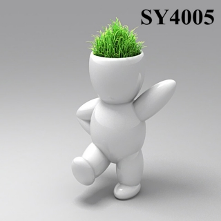 Energy little white man growing grass doll