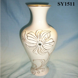 "11"" cream glazed flower arrangement vase"