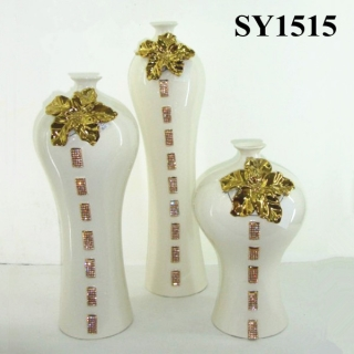 "22"" gold galvanized ceramic vase set"