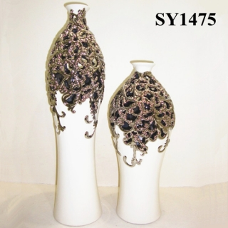 "21.5"" art decor golden galvanized flower arrangement stands"