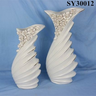 Elegant white outdoor ceramic flower vase