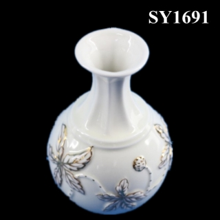 "6"" Decorative liquid gold white round vase"