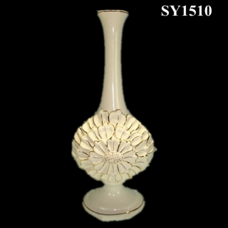 "15.5"" cream white glazed ceramic vase"
