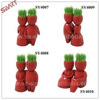 Home decoration for gifts lover red man ceramic grass doll