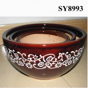 brownish red white printing decoration glazed pot
