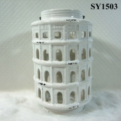 "8.5"" white indoor ceramic candle holders"