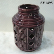 "8.3"" agate red indoor decoration ceramic candle holder"