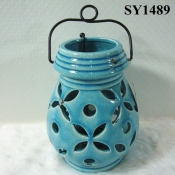 "Ceramic decoration for home 8"" blue glazed decoration hanging candle holder"