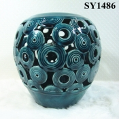 "8"" rustic blue glazed candle holder home decoration"