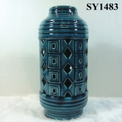 "12"" blue glazed candle holder ceramic decoration"