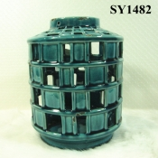 "8.5"" blue glazed decoration candle holder"