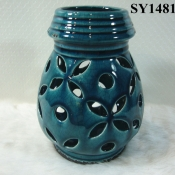 "8"" antique blue glazed home decoration candle holders"