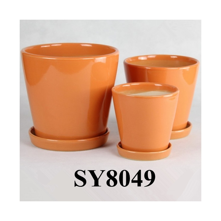 Ceramic Pot For Flower Orange Glazed Garden Sy8049 It S Free